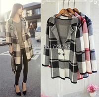 Plus Size! 2014 Fashion Women Trench Coat Medium Style Knitwear Coat Loose Patchwork Women Outerwear Free Shipping D0345