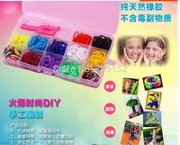600 PCS +24 S-Clips wholesale 12 Colors Loom bands Kit  Plastic Box Set  DIY Crazy Fun Bracelets 5 BOX /LOT For Kids Baby Gifts