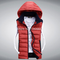 New 2014 Autumn Winter Casual Hooded Down Vest Men High Quality Cotton-padded Waistcoat Comfortable Couples Sleeveless Jacket