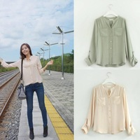 2014 Spring Korean wild bottoming small stand-up collar Women  blouse