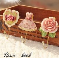 Wall Mounted Vintage Rose Hat Coat Robe Hook Door Bathroom Towel Clothes Rack Hanger Resin