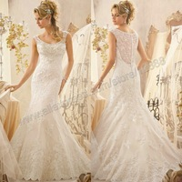The Sleeveless Beautiful Lace Wedding Gowns Mermaid Wedding Dresses Free Shipping 2014