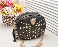 2014 woman's new small punk leopard head rivet Messenger Shoulder Bag BAG028