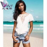 T shirt desigual women clothing chiffon hollow punk blusas femininas womens fashion 2014 casual rock sale summer tops W228