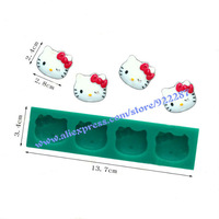 Silicone candy molds 4 holes hello kitty cake decorating tools fondant cooking tools chocolate baking kitchen free shipping