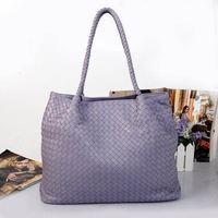 free shipping high quality genuine leather lambskin women tote knitted tote famous designer