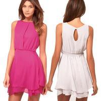 [R-388] Free shipping 2014 summer new hot women rose chiffon dress ladies wild beige sleeveless dress