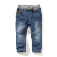Children Boys 2014 Autumn Outdoor Elastic Waist Jeans Kids Desigual Pocket Light Washed Blue Denim Pants Free Shipping