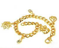 190mm Length 18k Yellow Gold Filled GF Vintage Women's Chain Charm Bracelet  Lab Diamonds Free Shipping