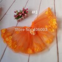 children 2layer tulle skirt girls princess bow floral tutu skirt for baby girls halloween orange tutu