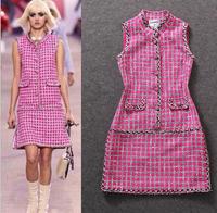 New Arrival Luxury Design Women Woolen Plaid Dress Autumn Winter Brand 2014 High Street Casual Warm Dress Sleeveless Dress
