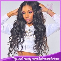 100% real Virgin long off black loose wave human hair Silk top lace front wig & Brazilian full lace silk top human hair wigs