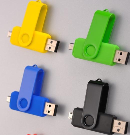 New design dual usb flash drive USB2.0 64GB Swivel memory pen drive stick for mobile phone key chain usb flash disk wholesale(China (Mainland))