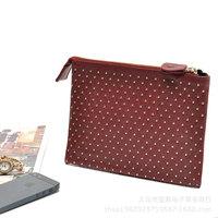 10 piece free shipping new 2014 fashion women handbag soft PU rivet zipper day clutches brand bag for ladies desigual clutch
