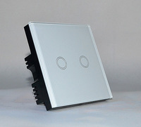2 Gang 1 Way  Touch Screen Wall Switch Suitable Home, Office, Hotel, hospital and so on
