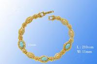 Natural Turquoise  Charm Bracelet Filigreen 18K Yellow Gold Soild Filled Charn Bracelet