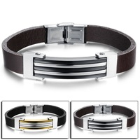 Popular Rock Punk Personality Men Party Jewelry Vintage Silver/Gold Steel + Genuine Leather Bracelets & Bangles 852