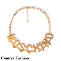 New gold plated chain big letter retro vintage statement necklace pendant jewelry fashion necklaces for women 2014 choker collar