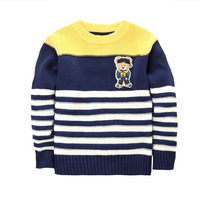 Children Boys Sweater Pullover 100% Cotton Cartoon Beer Pattern Kids Striped Long Sleeve Desigual O-neck Knitted Outerwear