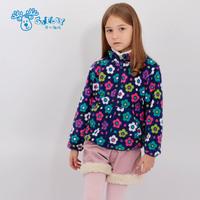 2014 autumn female child outerwear child polar fleece fabric reversible outerwear female child cardigan