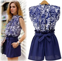 summer Women's 2014 New European and American style explosion models with blue and white print shirt waist shorts suit