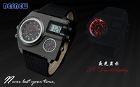 2014 New fashion BESNEW triple time zones watch, Cool Big men military watches sports leather strap wristwatches 5colors