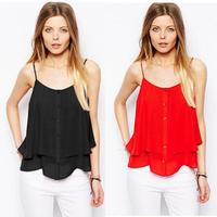 [R-227]  Free shipping 2014 new summer women's round neck sleeveless chiffon halter top vest big yards chiffon shirt