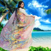 Womens Sunscreen Chiffon Big Shawls and Scarf Beach Towel for Summer