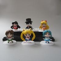 Free Shipping Anime Cartoon Sailor Moon Mars Jupiter Venus Mercury Q Version PVC Action Figure Model Toys Dolls 6pcs/set