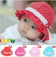 Free shipping! New cute baby girls summer hate Cotton children dots hat 3-24 months 4 colors choosed