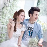 Korean bride shoulder diamond flower princess dress neat dress H13702