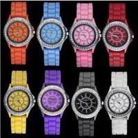 Women and men's silicone rhinestone sport quartz candy color wristwatches WA060