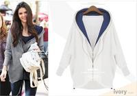 [R-380] Free shipping 2014 Autumn hot new women Irregular double zipper hooded cotton loose big yards sweater