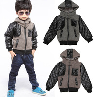 Fashion Baby Boys Jackets Contton Children Hoodies Coats Leather Patchwork Sweater Winter Outerwear for Boys Jackets