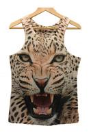 2014 new summer Animal 3D Sleeveless t shirts Beige Angry Leopard Print Tank Top Print Tank Top women