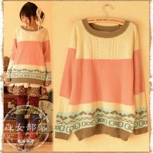 2015 New Women Patchwork Casual Sweater O Neck Rainbow Warm Sweet Sweater Cute Japanese Mori Girl Style(China (Mainland))