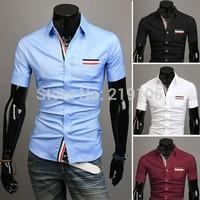 New Korean fashion striped trim stitching men's short-sleeved shirt Slim tide