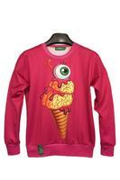 2014 new Ice Cream Eye Print Rose Red Sweatshirts Sweater Hoodies women