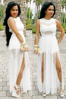 High Split Women Dress Evening Party Elegant Long Dress White Mesh Sexy Party Clubwear Maxi Dress Plus Size Women Clothing S-3XL