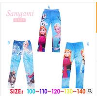 2014 New Fashion Spring Autumn Kids Girls Frozen Elsa Anna Leggings 100% Cotton Long Pants H0140787