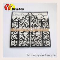 laser cut customized Wholesale black gate invitation cards weddings