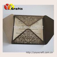laser cut customized Wholesale - 100Sets Laser Cut Wedding invitations Cards+100 Inner paper+100 Envelopes+100 Seals