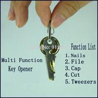 Hot Sale,Multifunction Bottle Beer Opener Portable Pocket Keychain Tools File Tweezers Nails Cut, FREE SHIPPING--BGT
