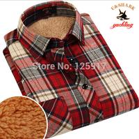 18 Colors High Quality Flannel Plaid Men Shirts Long Sleeve Winter Thickening Wool Shirts Fleece Warm Shirt Size 3XL 4XL XXXXL