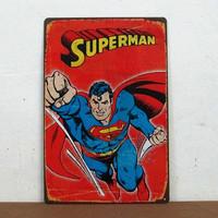Cartoon Superman Hero Tin Sign Metal Plate Children Room Wall Decor M-200