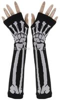 Fashion Punk Skull GOTHIC Goth Horror Mens Womens Misfit White/Green/Rose-red Skeleton Bones Fingerless Black Work Gloves