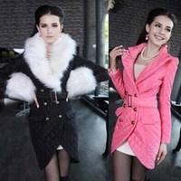 2014 new winter jacket collar Nagymaros pink tulip warm cotton padded coat long section of women