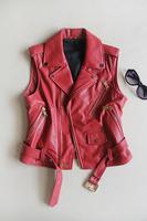 Cool motorcycle ! fashion sheepskin pocket zipper short design slim waist sleeveless turn-down collar leather clothing