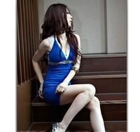 Sexy Deep V Collar Dress For Women Sleeveless Backless Halter Slim Mini Slim Party/Club Spaghetti Strapless Clothing Black/Blue
