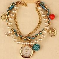 New Fashion Women Rhinestone Watches Bracelet Vintage Watch Rudder Anchor Lady Casual Wristwatches New Promotion